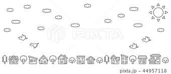 デフォルメした家と木の並び空と雲と鳥手書き風線画のみロング