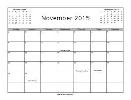 November 2015 Calendar With Holidays Free Printable