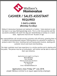 Cashier Sales Assistant Wallaces Wellingtonbridge