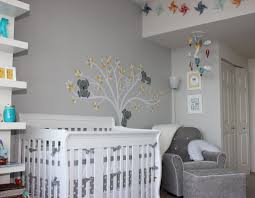 Foxy Baby Nursery Room Decorating Using Light Gray Baby Room Wall Paint  Including White And Grey Tree Baby Room Wall Mural And Grey And White Plain  Baby ...