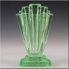bagley 1930 s art deco uranium glass grantham vase 334
