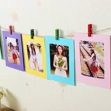 10pcs assorted colors diy photo frame hanging wall photos picture al with rope wooden clip for