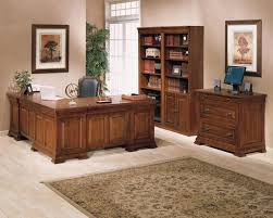 desk classic l shaped brown wooden best home office desk bay window inside light red wall best flooring for home office