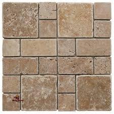 noce square mini french pattern travertine tile mosaic