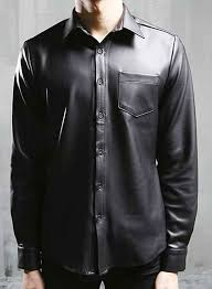faux classic leather shirt loading zoom
