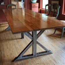 Industrial chic furniture ideas Chic Living Birch And Steel Trestle Dining Table By Keven Higgins Fastinstantloan Industrial Chic Furniture Designs And Ideas Custommadecom