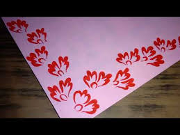 Pink Chart Decoration Red Flower Design Two Side Border