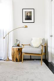 Narrow Armchair Warm Modern Reading Nook With Brass Lamp And Midcentury Chair Via