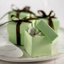 brown and green wedding favors | Mint Green and Chocolate Brown favor  boxes! Perfect!