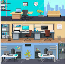 design office space designing. Set Of Modern Office Interior With Designer Desktop In Flat Design. Room. Design Space Designing