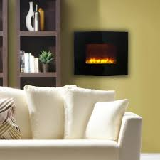 wall mount electric fireplace in black with curved front