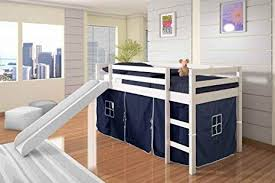 Image Playground Amazoncom Donco Kids Twin Tent Loft Bed With Slide White Finish With Blue Tent