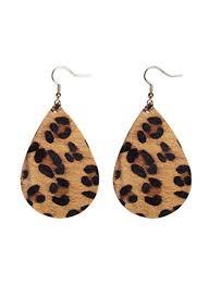 alloy leopard print leather earrings dangle hook earrings