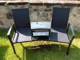 black 2 seater garden bench love seat 2 chairs with table loveseat duo tete a