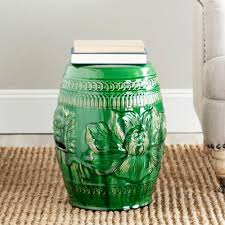patio stool: chinese dragon green ceramic patio stool