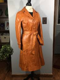 vintage leather trench coat rare designer coat skin gear womens coat brown leather riding coat soft leather clothing evening fun coat