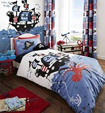 pirates octopus ship blue white cotton blend usa twin forter cover 135 x 200