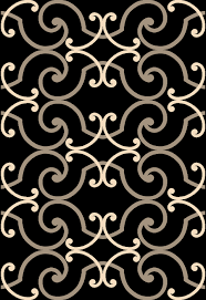 this frieze area rug is black with white and gold crescent shapes