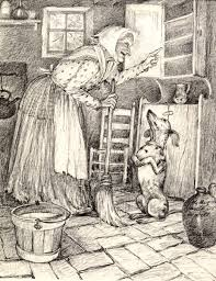 old mother hubbard from book of nursery and mother goose rhymes