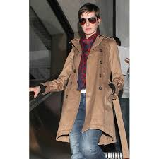 anne hathaway stylish brown trench coat