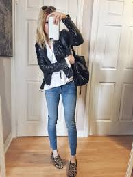 white blouse leather jacket blue denim skinnies sam edelman loraine loafer rayban aviators