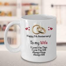 11th anniversary gift ideas for wife 11th wedding anniversary gift married 11 years coffee mug