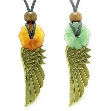 guardian angel wings amulets love couple best friend green quartz carnelian celtic flower donut necklaces