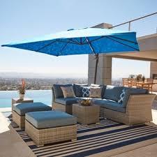 Corvus Outdoor 8 piece Grey Wicker Sectional Sofa Set with Blue