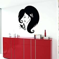 woman with erfly beauty salon wall decor murals wall art decor interior design sticker decal size