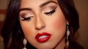 valentine s day 2016 makeup tutorial gold pin up eyes dark red