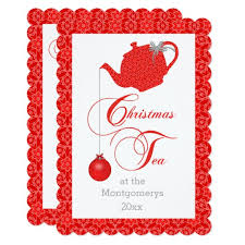 Christmas Tea Party Invitations Custom Menu Red Lace Christmas Tea Party Invitation