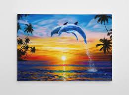 dolphin wall decor dolphin canvas art large beach painting dolphin canvas wall art on dolphin canvas wall art with dolphin wall decor dolphin canvas art large beach jason fetko