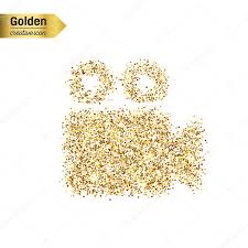 Gold Glitter Vector Icon Of Video Camera Isolated On Background Art