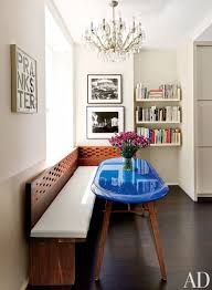 dining room table with bench against wall. 12. The Artful Prankster Dining Room Table With Bench Against Wall