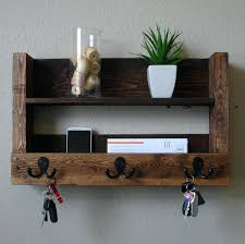 rustic coat rack with shelf entryway 3 hanger hook and mail phone key  organizer by racks . rustic coat rack ...