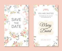 Wedding Invitation Card Template With Floral Vectors 03 Free Download
