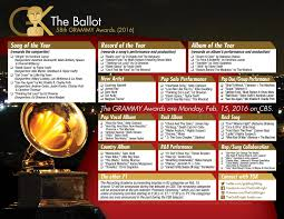 Print enough of these thanksgiving. 58th Grammy Awards Printable Ballot 2016 The Gold Knight Latest Academy Awards News And Insight