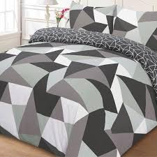 just contempo geometric duvet cover set single grey amazonco