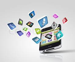 media technology illustration mobile phone and icons stock  media technology illustration mobile phone and icons stock photo colourbox