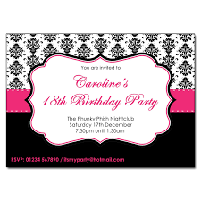Pink Black White Party Invites
