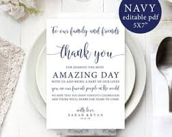 Wedding Thank You Notes Templates Wedding Thank You Note Template Wedding Table Thank You Etsy