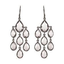 white crystal quartz chandelier earrings with black finish in sterling silver