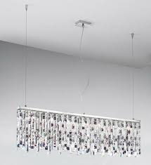 prisma chrome 7 light linear ceiling light pendant with clear and violet square crystals kolarz