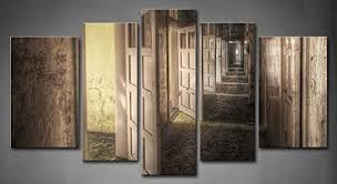 open door painting. Buy First Wall Art® - 5 Panel Art Hallway With Open Doors In An Abandoned Asylum Hdr Processing Vintage Painting The Picture Print On Canvas Door C