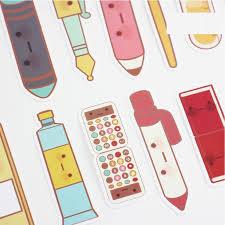 10 set lot stationery items bookmark cartoon pen pencil ruler paper book marker office supplies marcador de livro f557 in bookmark from office