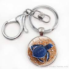 2019 turtle keychain sea turtle keychains ocean beach jewelry marine life art pendant key chain glass cabochon key holder from wooden ons word