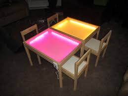 our little princess playing with her new rainbow light table