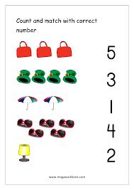 Number Chart 1 5 Free Printable Number Matching Worksheets For Kindergarten
