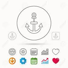 Anchor Icon Nautical Drogue Sign Sea And Sailing Symbol Calendar
