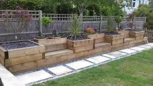 Garden Design Ideas With Railway Sleepers Raised Beds With Integrated Garden Seating Made From Railway